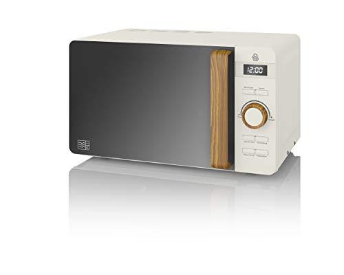 Swan SM22036WHTN, Nordic Digital Mikrowelle, Griff in Holzoptik, Soft-Touch-Gehäuse und mattes Finish, 800 W, Baumwolle weiß