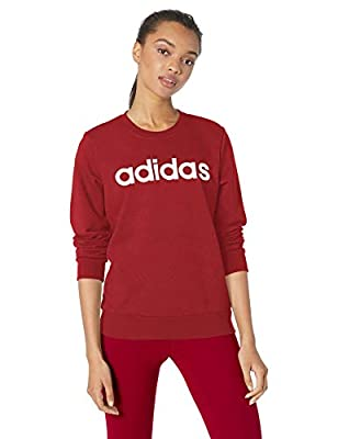 adidas Essentials Women's Linear Crewneck Sweatshirt, Active Maroon/White, Medium