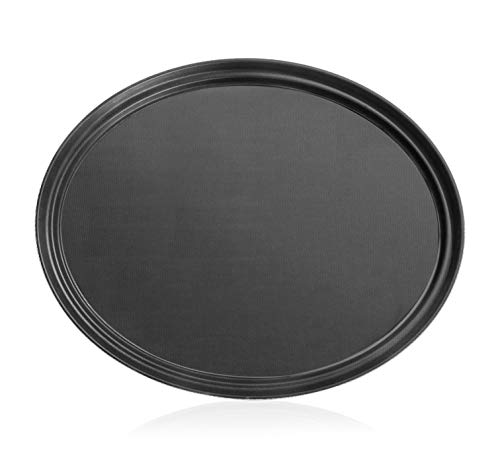 New Star Foodservice 25514 Non-Slip Tray, Plastic, Rubber Lined, Oval, 22 x 27-Inch (LARGE), Black