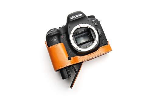 Canon キャノン EOS 6D Mark II 6D2 専用本革カメラケース バッテリー交換可能タイプ (底面開閉) (本革カメラケース バッテリー交換可能タイプ, オレンジ)