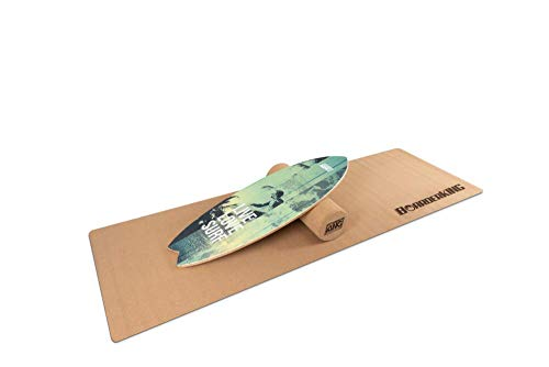 Indoorboard WAVE Set Balance Board Skateboard Surfboard Balanceboard (Green, 100 mm (Korkrolle))