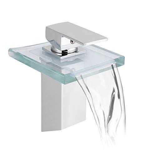 Grifo monomando para lavabo, con 3 cambios de color, iluminación de cristal, mezclador, cascada, grifo monomando para cuarto de baño