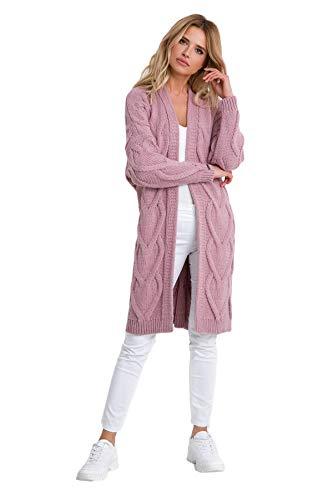 Fobya Farbenfrohe, schöne Lange Strickjacke mit Langen Ärmeln aus weichem und bequemem, perfekt...