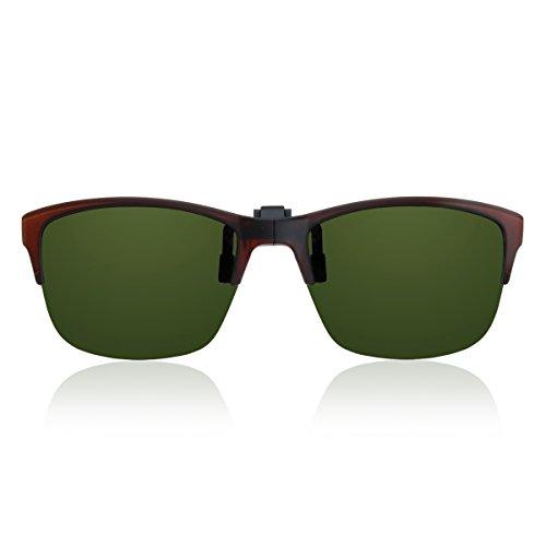 【新型】HUG OZAWA(ハグオザワ) green glass(グリーングラス) 瞬間サングラス 折りたたみ式クリップオンサングラス 偏光レンズ GR-017C (ブラウンマット, グリーン)