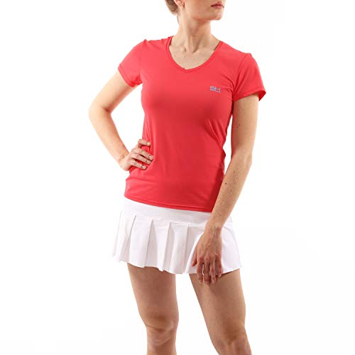 Sportkind Filles & Femme Tennis Fitness Sport T-shirt fonctionnel Manches Courtes Col V Protection UV UPF50+ Pêche Taille L