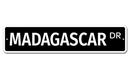 Madagascar - Cartel de aluminio vintage de aluminio para pared de garaje, hombre, cueva, cafetería, bar, club, tienda, decoración para el hogar al aire libre, 4 x 18 pulgadas