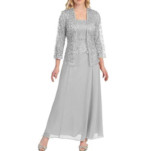 DAY8 Abito Cerimonia da Donna Lungo Elegante Vestiti Donna Eleganti Lunghi da Sera in Pizzo Vestito da Sposa Matrimonio Taglie Forti Due Pezzi (Trapano, XXXXX-Large)