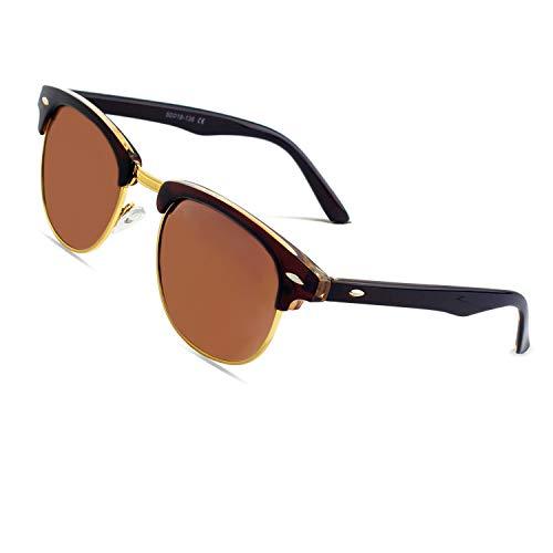 CGID MJ56 Retro Vintage Sonnenbrille im angesagte 60er Browline-Style mit markantem Halbrahmen Sonnenbrille,Braun-Braun