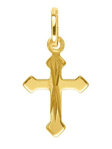 MyGold V0011258 Mini gouden kruis hanger (zonder ketting), geel goud, 750 goud (18 karaat), klein, glanzend, 17 mm x 8 mm, doopgeschenk, peetvader, communie, gouden kruis ketting hanger