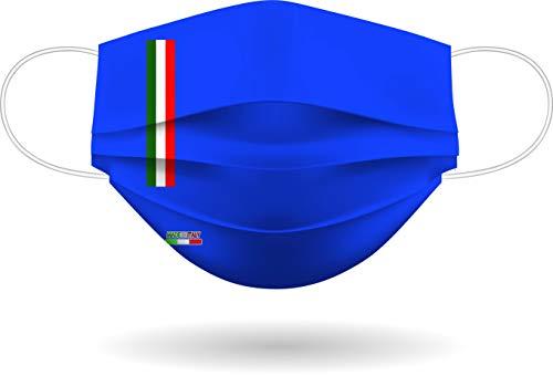 Mascherina per Viso con elastici, lavabile e sterilizzabile, Unisex, Made in Italy (BLU ROYAL)