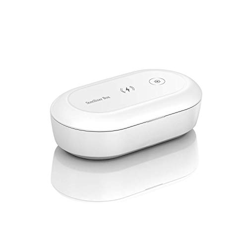 Esterilizador UV, 10W UV Multifuncional Desinfección Caja Lámpara de Esterilización con Cargador Inalámbrico Función de Aromaterapia para Teléfono, Joyas, Relojes, Gafas