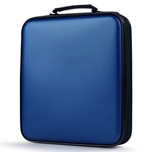 COOFIT CD Tasche, 160 CD/DVD Tasche DVD Lagerung DVD Case VCD Wallets Speicher Organizer Hard Plastik Schutz DVD Lagerung (160 Blau)