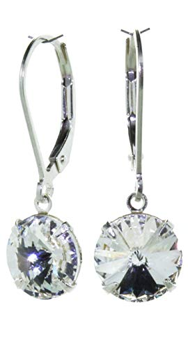 pewterhooter 925 Sterling Silver drop earrings for women made with brilliant Diamond white crystal from Swarovski. Gift box. Made in the UK. Hypoallergenic & Nickle Free for Sensitive Ears.
