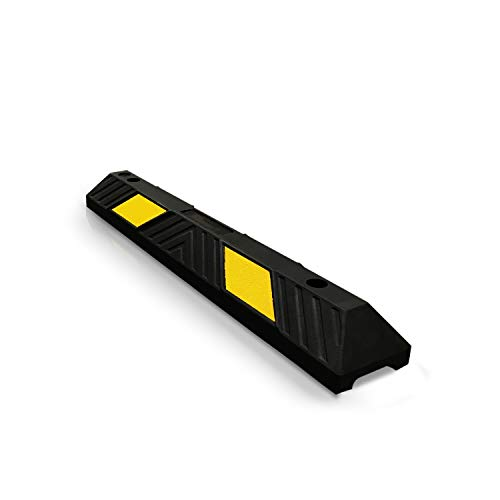 Betriebsausstattung24® Parkplatzbegrenzer | Radstopp | Mit gelben Reflexstreifen | Seitliche oder frontale Anwendung | Hartgummi | gelb/schwarz | Größe: (90,0 x 15,0 x 10,0 cm)
