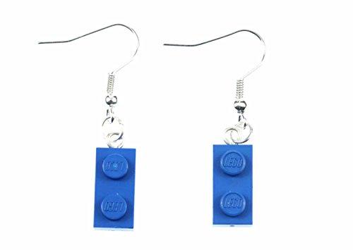Lego Ohrringe Hänger Miniblings Spiel Spiele Upcycling Legoplättchen 2er blau
