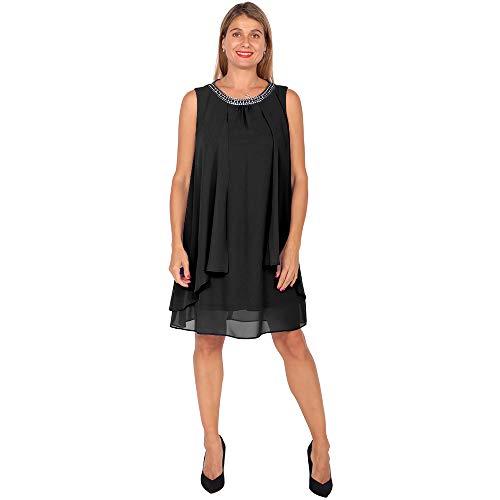 DUPLAN Vestido Liso con aplicacion en Cuello
