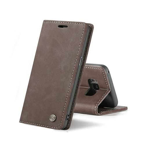 Chocoyi Compatible Funda Samsung Galaxy S8 Flip Leather Edition,magnético, función de Soporte y Ranuras para Tarjetas-marrón