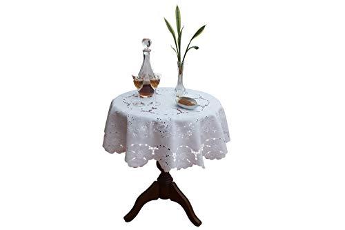 Mantel redondo bordado Madeira hecho a mano, con servilletas, en lino - blanco, beige