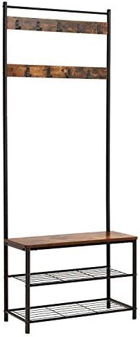 Best Bush Furniture Hall Trees - Industrial Coat Rack, Hall Tree Entryway Shoe Bench