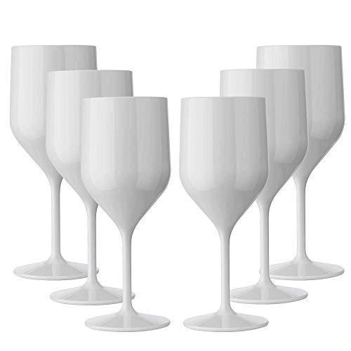 TUNDRA ICE INTERNATIONAL 6 pièces Croisiere 25 cl en polycarbonate (plastique rigide), verres à vin 100% Italian Design, verres incassables, réutilisables et lavables au lave-vaisselle, blanc