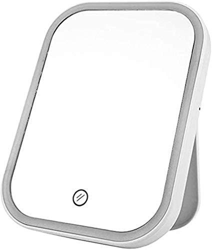 HCMNME Espejos encimera encimera Maquillaje Tacto atenuación led Maquillaje Plegable Escritorio tocto tocador Tablero (Color: Blanco, tamaño: 13.3x17.8cm) (Color : White, Size : 13.3x17.8CM)