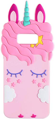 Liangxuer Pink Unicorn for Samsung Galaxy S7,Soft 3D Silicone Case,Cute Animal Rubber Cover,Cool Kawaii Cartoon Gel Cases for Girls Kids.Fun Unique Sweet Character Skin Protector Shell for S7