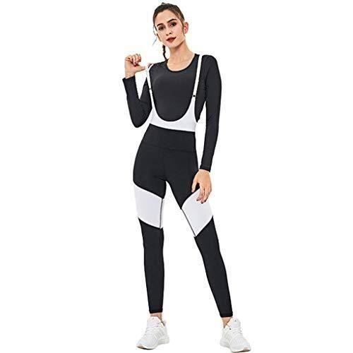 Sport Leggins,Yogahose Women's Yoga Suit sport pak met bretels Jumpsuit Stretch Droog (Blouse + Broek) (Size : L)