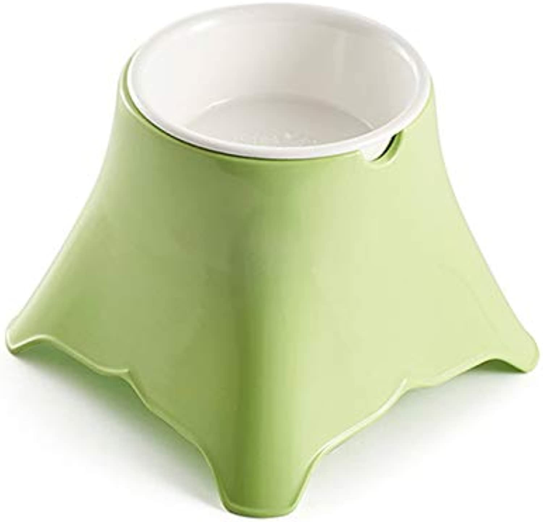 DLwbdx Dog Bowl Pet Tableware European Four Side High Foot Drinking Water Feeding Health,Grass green