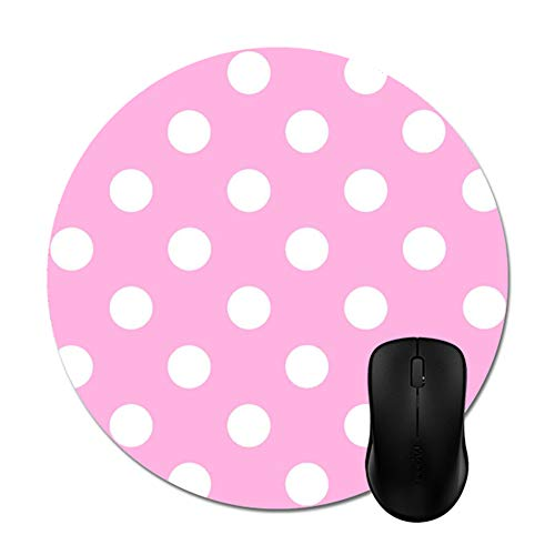 """Smity 106 Pink White Polka Dot Mouse Pads Trendy Office Desktop Accessory Round 8"""""""