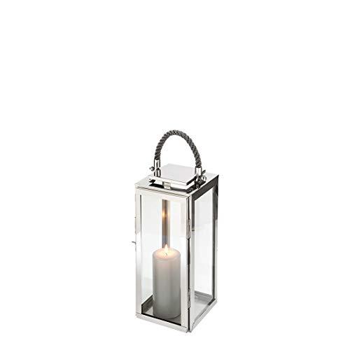 Fink Sevilla Laterne, Glas, Silber, 18cm