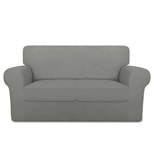 PureFit 3 Pieces Super Stretch Chair Couch Cover for 2 Cushion Slipcover – Spandex Non Slip Soft Sofa Cover for Kids, Pets, Washable Furniture Protector (Loveseat, Light Gray)