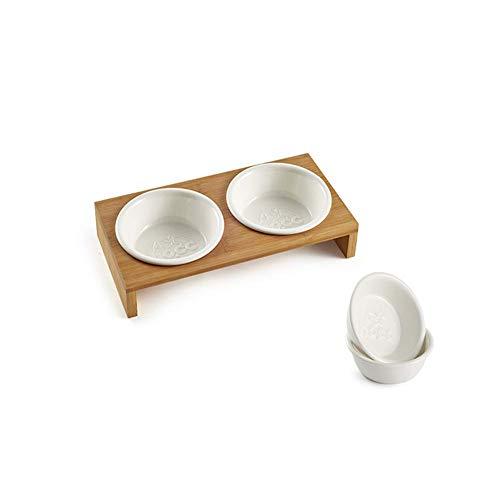 MGRJ Katze Schüssel, Heimtierbedarf Lebensmittelutensilien Bambustisch Keramik Doppelschüssel Hauskatze Gesundes Trinkwasser Füttern