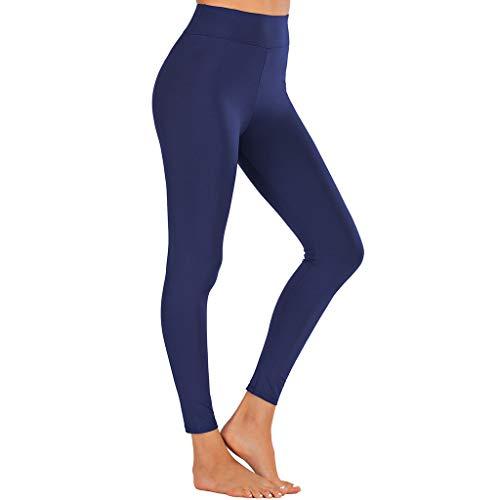 VECOLE New Leggings Femme Sport Pantalon Noir Women Legging Elastique Fitness Slim Gym Jogging La Fashion Casual Yoga Sport Couleur Unie New Pas Cher Pants(Blue,L)