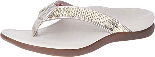 Vionic Women's Tide Sequins Toe Post Sandals - Ladies Flip Flop Sandals with Concealed Orthotic Arch Support Gold 11 Medium US
