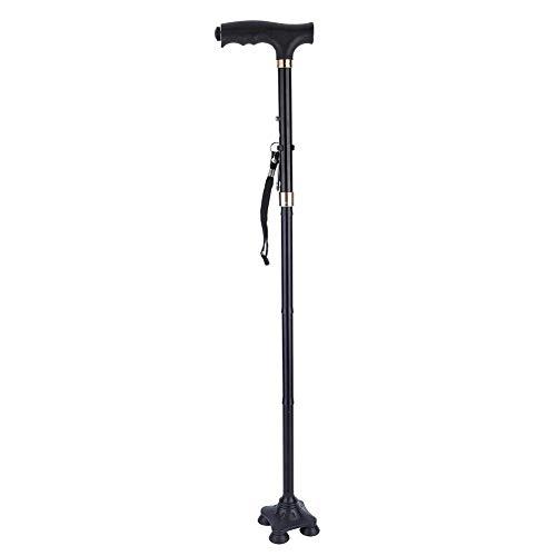 DealMux bastón, bastón plegable ajustable con linterna LED, 4 pies de apoyo antideslizantes y pulsera, adecuado para hombres y mujeres, muletas ✅