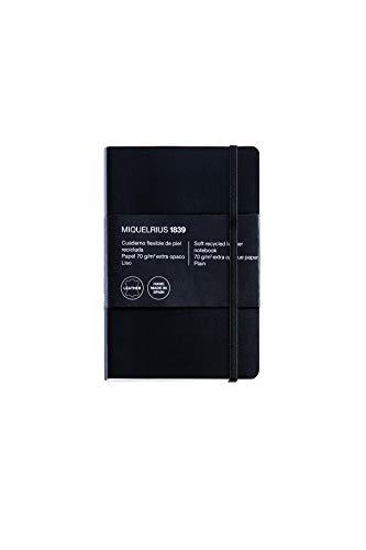 Miquelrius - Cuaderno flexible en piel, tamaño 8º, Con índice alfabético, 200 hojas, Cuadrícula 5 mm, con goma, color negro