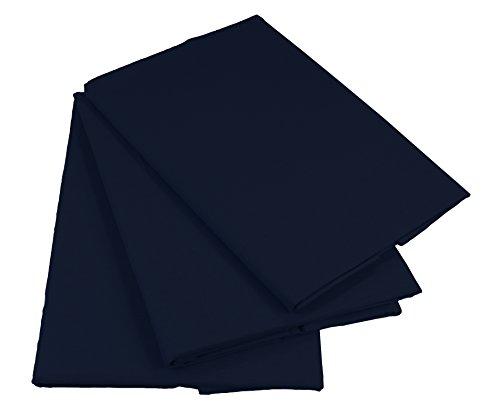 KMP know how in modern printing Bettlaken Betttuch Haustuch 100% Baumwolle ohne Gummizug viele Uni Farben (200 x 220 cm, Dunkelblau)