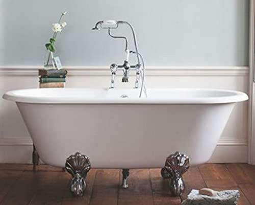Casa Padrino Jugendstil Badewanne Naturstein freistehend 1700mm BBlan Weiß - Freistehende Retro Antik Badewanne, Badewannen Füsse:Standard Classical Silber