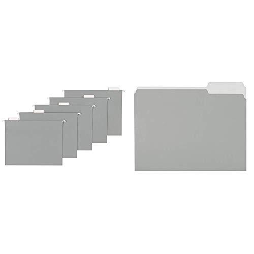 AmazonBasics Hanging Folders, Letter Size, Gray, 25-Pack & File Folders, Letter Size, 1/3 Cut Tab, Gray, 36-Pack