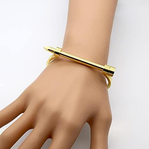 Armband Damen Vintage Punk Luxus Marke Schmuck Nagel Armband Titan Stahl Armreifen Gold Farbe Manschette Armbänder & Armreifen Für Frauen Gold-Farbe