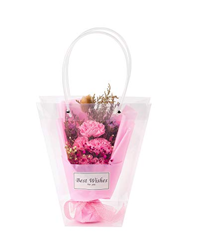 WRAPAHOLIC 10 Pack Transparent Gift Bag - Medium Transparent Gift Bag for Wedding, Birthday, Baby Shower, Party Favors, Flower Bouquet Wrapping - (9.4'+ 4.7') L x 4.3'W + 10.2'H