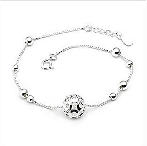 JIEERCUN Pulsera de plata para mujer y mujer, pulsera para mujer, joyería de pie (color: plata)