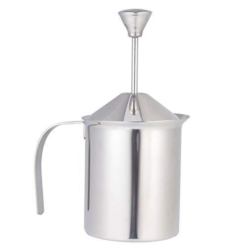 Hemoton Montalatte a Pompa in Acciaio Inossidabile Produttore Manuale di Schiuma di Latte per Cappuccino E Caffè (400Cc)