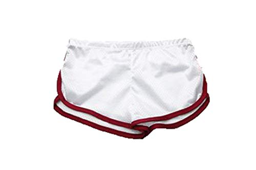 Pantalones Cortos para Correr Hombres Sweetpants Quick Dry Fit Gym Mesh Boxer Transpirable Corto White XXL