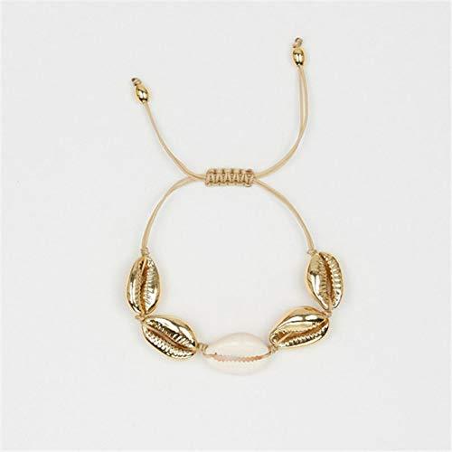 LANSS Fashion Gold Color Cowrie Shell Charm Bracelet For Women Black White Acrylic Bead Bracelet Bohemia Beach Jewelry