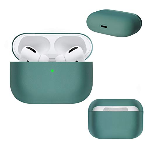 DamonLight AirPods Pro Case [Front LED Visible] [Dust Free] Liquid Silicone Shock Proof Protective Cover for Airpods Pro Charging Case(Midnight Green)