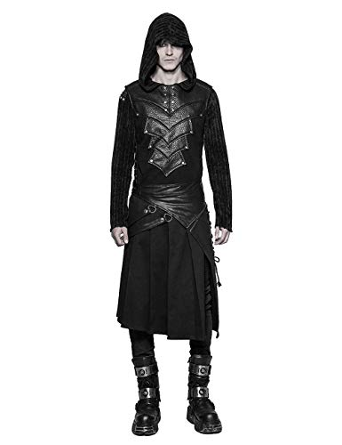 Punk Rave Falda gótica desmontable para hombre, estilo japonés, estilo vintage, cosplay Negro XXXL