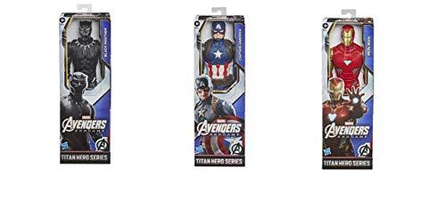 Avengers- Figura Titan Hero 30 CM Mod. SDOS. (Capitan America, Black Panther Y Iron Man), Multicolor (Hasbro F2246)
