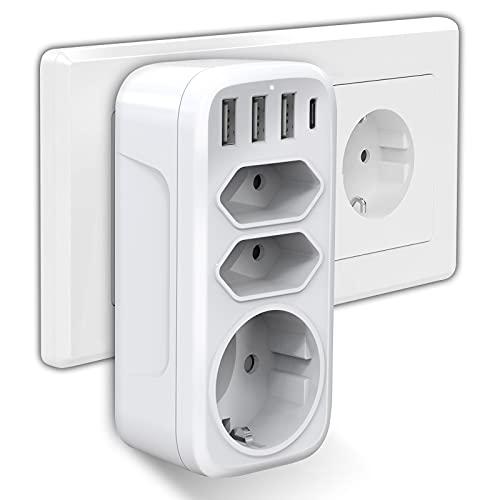 Steckdosenadapter, Gogotool USB Steckdose 7 in 1 Mehrfachsteckdose mit 3 Steckdosen 3 USB Ladegerät 1 Typ-C Port Kompatibel für Phone Laptop Haushaltsgerät, Mehrfachstecker für Hause Reise Büro