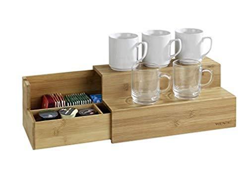 Wenko Gaveta de bambu para saquinhos de chá, caixa organizadora para casa e cozinha, pequena, marrom, 33 x 17 x 15 cm